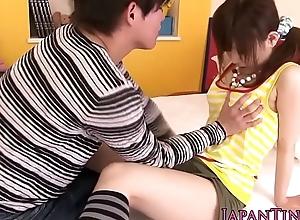 Asian pornstar Miku Airi gets tits jizzed superior to before