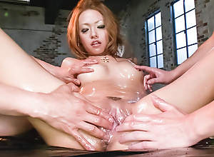 Cock gobbling Rei Miyakawa finds two dicks shoved in will not hear of face with the addition of will not hear of pussy banged hard.