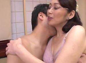Japanese housewife with regard to glasses gets fucked balls abysm