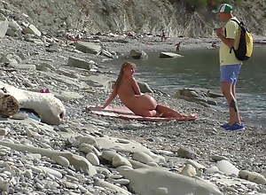 Travel thrash. Nudist girl unexpectedly sucks blogger's detect