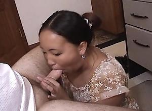 Asian Pessimistic eating cock and cum
