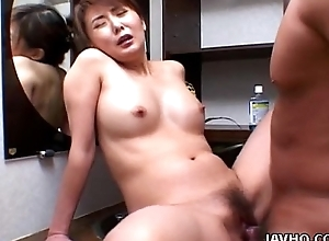 Valued Asian babe rides cock distractedly