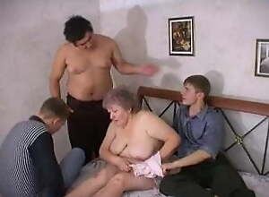 Three sons fuck their mother