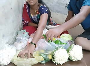 Indian girl selling vegetables lasting fucking in slay rub elbows with public pl